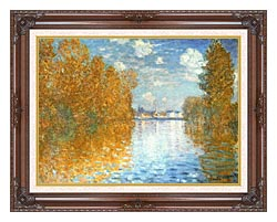 Claude Monet The Seine At Argenteuil Autumn Effect canvas with dark regal wood frame