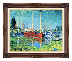 Claude Monet Red Boats Argenteuil canvas with dark regal wood frame
