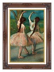 Edgar Degas Dancers In Pink canvas with dark regal wood frame