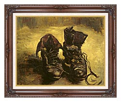 Vincent Van Gogh A Pair Of Shoes 1886 canvas with dark regal wood frame