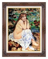 Pierre Auguste Renoir Seated Bather canvas with dark regal wood frame