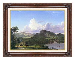 Frederic Edwin Church Home By The Lake canvas with dark regal wood frame