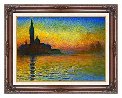 Claude Monet San Giorgio Maggiore At Dusk Venice canvas with dark regal wood frame
