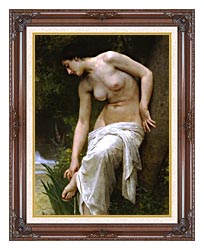 William Bouguereau Woman After The Bath canvas with dark regal wood frame