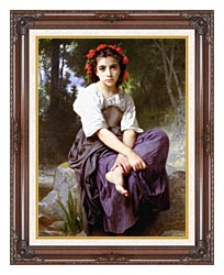 William Bouguereau At The Edge Of The Brook canvas with dark regal wood frame