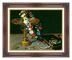 Jan Brueghel The Elder Gold Cup With Flower Wreath And Jewel Box Detail canvas with dark regal wood frame