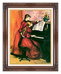 Pierre Auguste Renoir The Piano Lesson canvas with dark regal wood frame