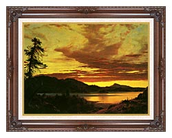 Frederic Edwin Church Sunset Detail canvas with dark regal wood frame
