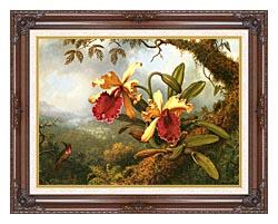 Martin Johnson Heade Orchids And Hummingbird canvas with dark regal wood frame