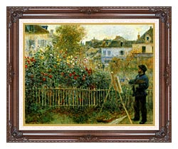 Pierre Auguste Renoir Claude Monet Painting In His Garden At Argenteuil canvas with dark regal wood frame
