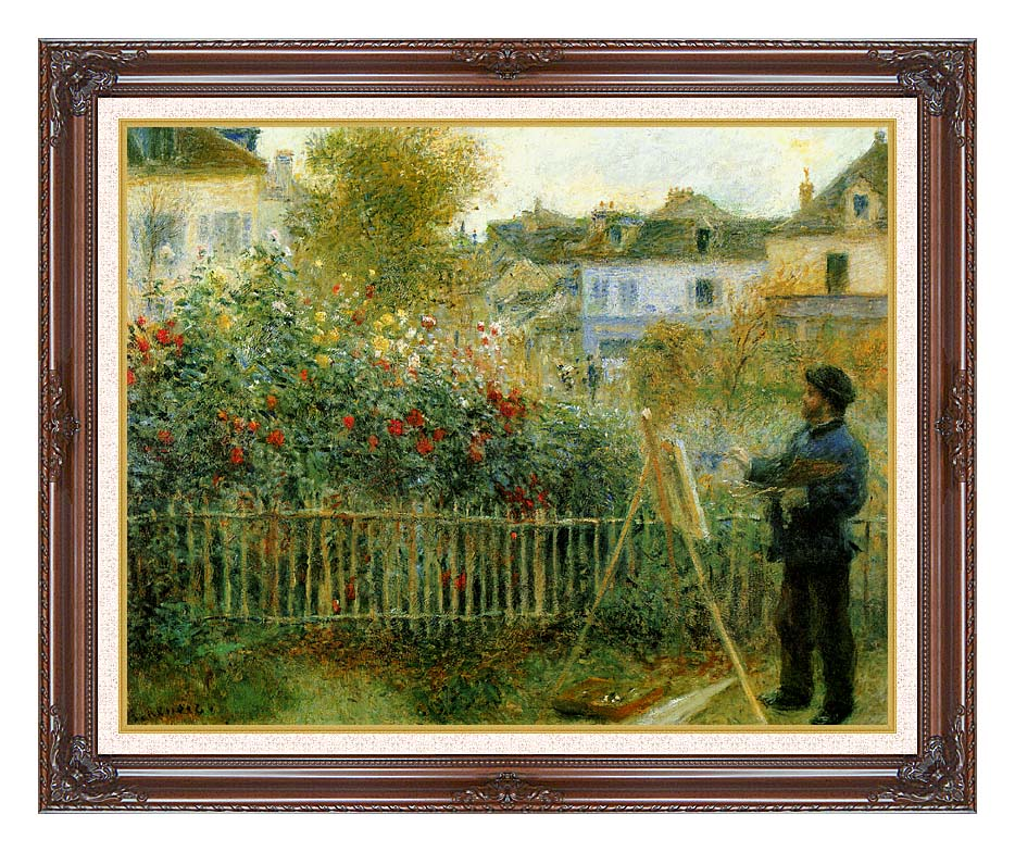 Pierre Auguste Renoir Claude Monet Painting in his Garden at Argenteuil with Dark Regal Frame w/Liner