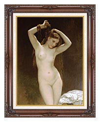 William Bouguereau Bather canvas with dark regal wood frame