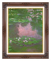 Claude Monet Water Lilies 1905 Portrait Detail canvas with dark regal wood frame
