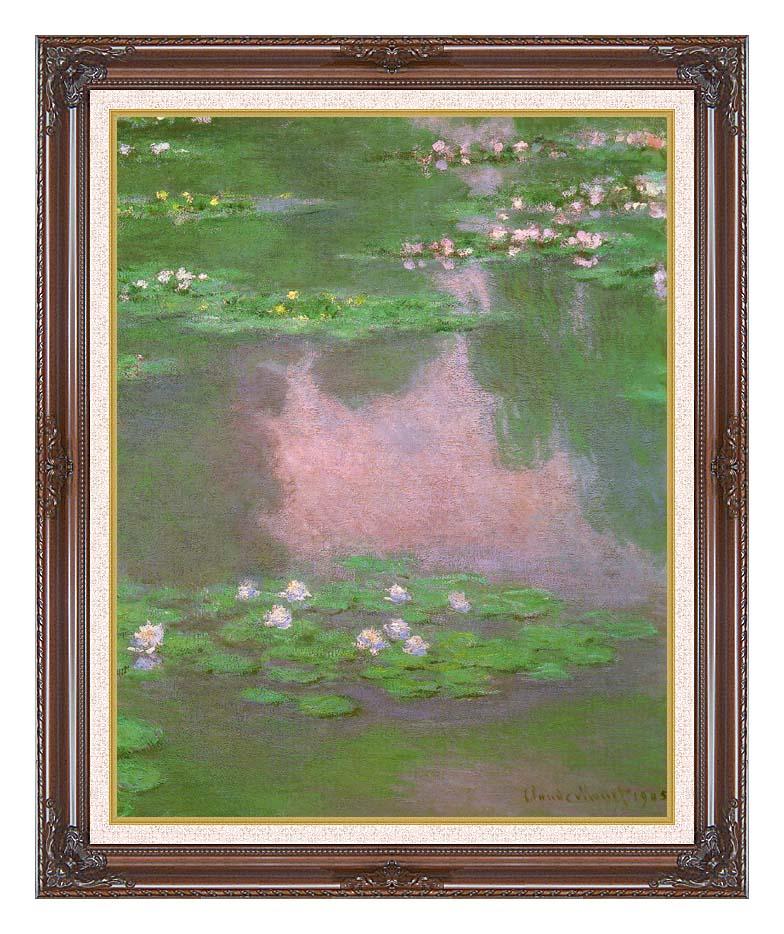 Claude Monet Water-Lilies 1905 (portrait detail) with Dark Regal Frame w/Liner