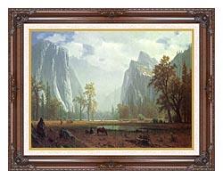 Albert Bierstadt Looking Up The Yosemite Valley Detail canvas with dark regal wood frame