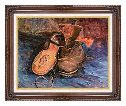 Vincent Van Gogh A Pair Of Shoes canvas with dark regal wood frame