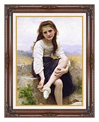 William Bouguereau Before The Bath canvas with dark regal wood frame