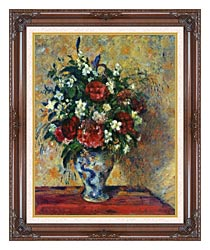 Camille Pissarro Vase Of Flowers canvas with dark regal wood frame