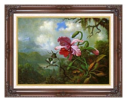 Martin Johnson Heade Orchid And Hummingbirds Near A Mountain Lake canvas with dark regal wood frame