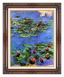 Claude Monet Water Lilies 1914 canvas with dark regal wood frame