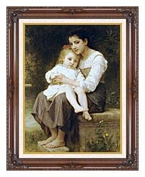 William Bouguereau Big Sister canvas with dark regal wood frame