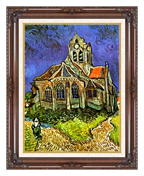 Vincent Van Gogh The Church At Auvers canvas with dark regal wood frame