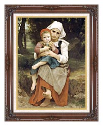 William Bouguereau Breton Brother And Sister canvas with dark regal wood frame