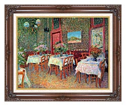Vincent Van Gogh Interior Of A Restaurant canvas with dark regal wood frame