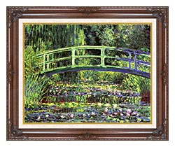 Claude Monet Water Lilies And Japanese Bridge canvas with dark regal wood frame