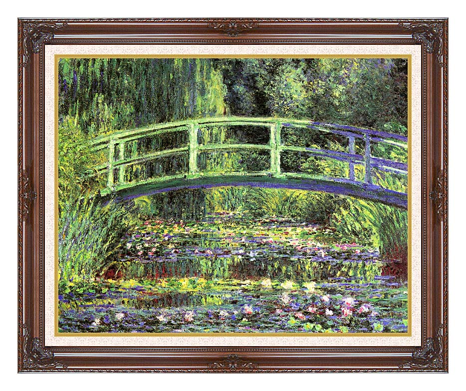 Claude Monet Water Lilies and Japanese Bridge with Dark Regal Frame w/Liner
