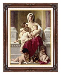 William Bouguereau Charity canvas with dark regal wood frame