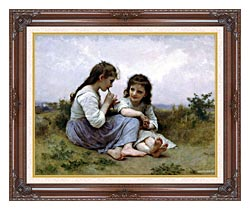 William Bouguereau Childhood Idyll canvas with dark regal wood frame