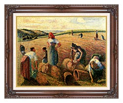 Camille Pissarro The Gleaners canvas with dark regal wood frame