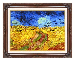 Vincent Van Gogh Wheat Field With Crows Detail canvas with dark regal wood frame