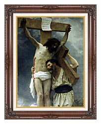 William Bouguereau Compassion canvas with dark regal wood frame