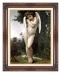 William Bouguereau Cupidon canvas with dark regal wood frame