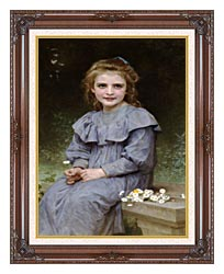 William Bouguereau Daisies canvas with dark regal wood frame