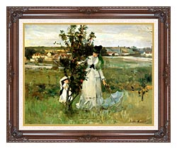 Berthe Morisot Hide And Seek canvas with dark regal wood frame