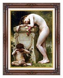 William Bouguereau Elegy canvas with dark regal wood frame