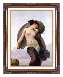William Bouguereau Evening Mood canvas with dark regal wood frame