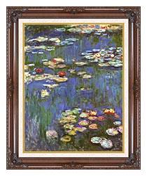 Claude Monet Water Lilies 1916 Portrait Detail canvas with dark regal wood frame