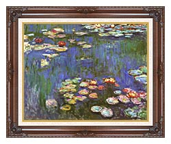 Claude Monet Water Lilies 1916 Detail canvas with dark regal wood frame