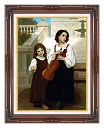 William Bouguereau Far From Home canvas with dark regal wood frame
