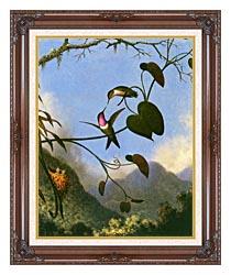 Martin Johnson Heade Amethyst Woodstar canvas with dark regal wood frame