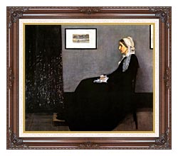 James Abbott McNeill Whistler Arrangement In Grey And Black Portrait Of The Artists Mother canvas with dark regal wood frame