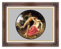 William Bouguereau Flora And Zephyr canvas with dark regal wood frame