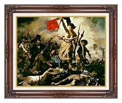 Eugene Delacroix Liberty Leading The People canvas with dark regal wood frame