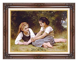 William Bouguereau Hazelnuts   The Nut Gatherers canvas with dark regal wood frame