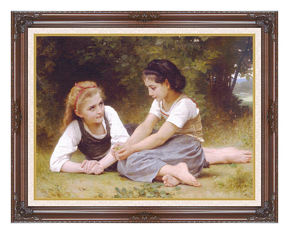 William Bouguereau Hazelnuts - The Nut Gatherers with Dark Regal Frame w/Liner