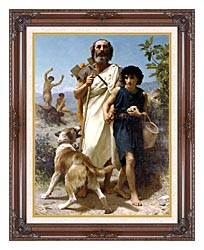 William Bouguereau Homer And His Guide canvas with dark regal wood frame